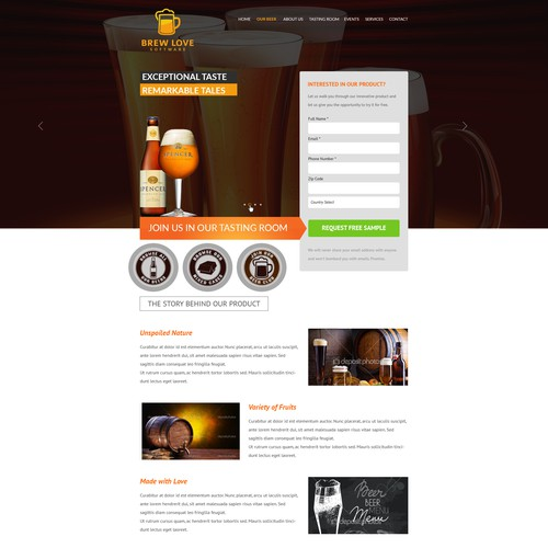 Brew Love Software Landing Page