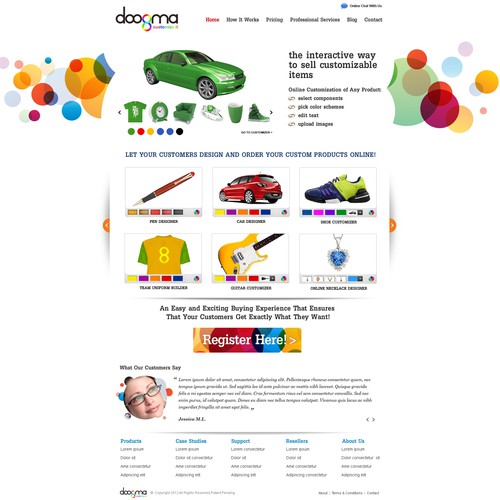 Homepage Design for Customization Site