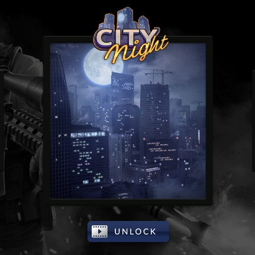 Play Ad Button Design for City Night
