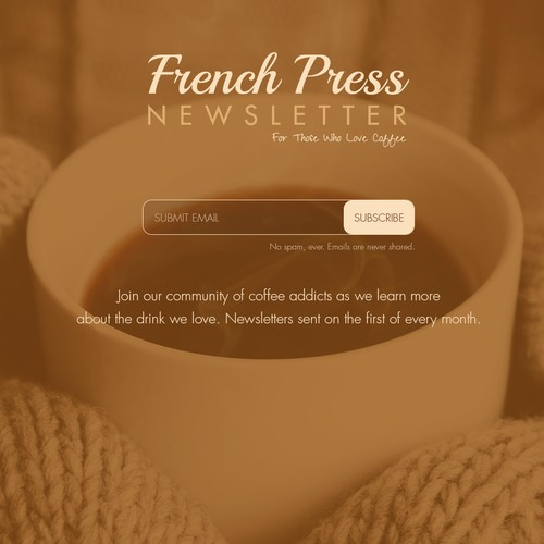 Landing page for coffee newsletter