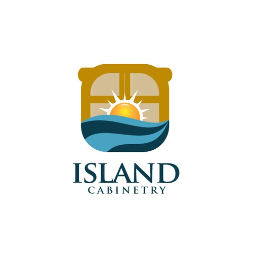"""Island Cabinetry"" Create a tropical Hemingway-Key West Cottage style logo -  using a cabinet or other concept"