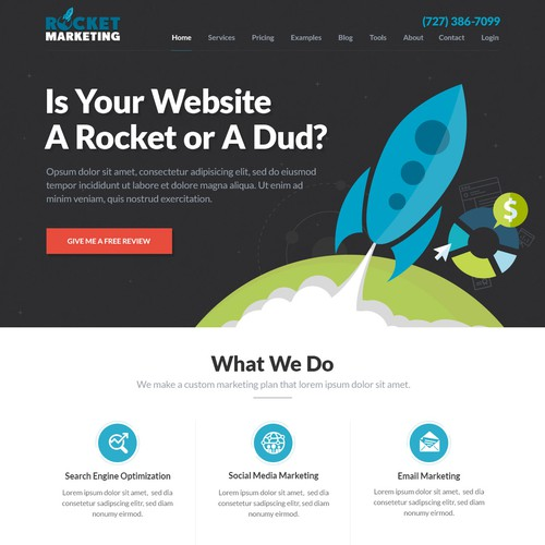 Landing page for Rocket Marketing