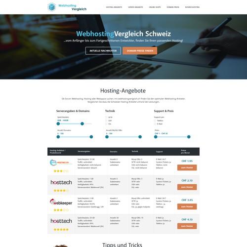 Neues Design für Webhostingvergleich Schweiz
