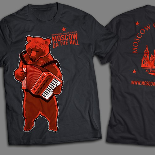 Design a shirt with a modern spin on Russian propaganda for an upscale restaurant & vodka lounge.