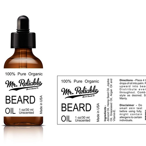 Create a product label for a beard oil bottle.