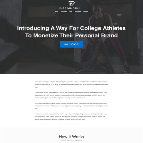Landing Page for Sports Mobile App