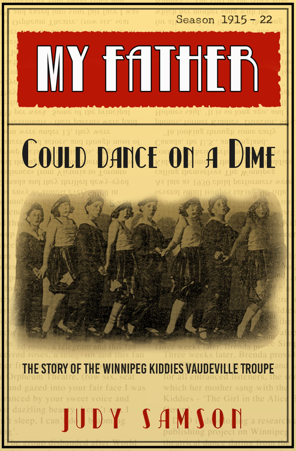 Create an eye-catching book cover that captures in a modern way the vintage vibe of 20's vaudeville