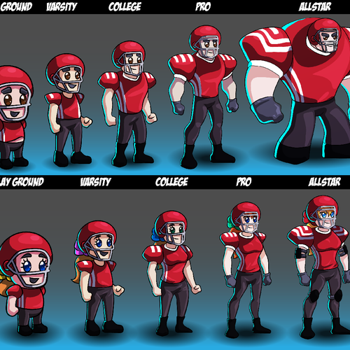 Cartoon Character Series for New Mobile Football RPG