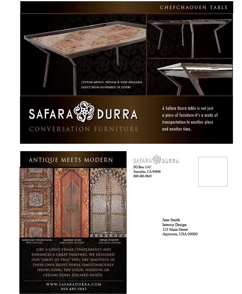 Large Postcard for Safara Durra, a new Furniture Company