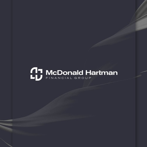 Negative space monogram for a modern investment planning company