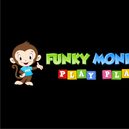 create a cute and creative design for an indoor children's play center funky monkey mascot
