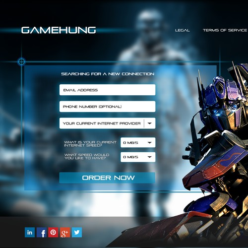 Online gamer Squeeze page