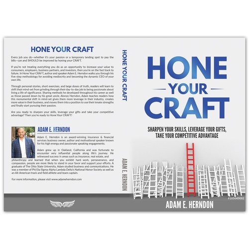 Design a book cover for motivational book about honing your craft/taking your competitive advantage