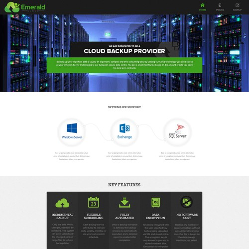 Cloud backup website