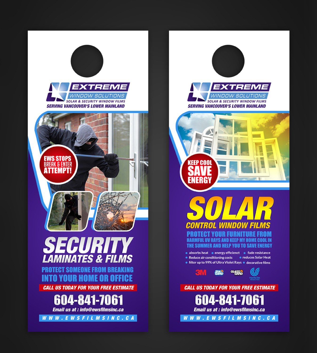 Create a Compelling Door Hanger for my Solar & Security & Decorative Window Film Business in Vancouv