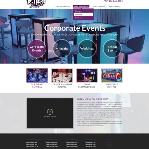 Home page design for Hip, Sexy Events & Entertainment Company