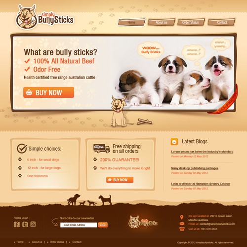 New website design wanted for dog treats bully sticks