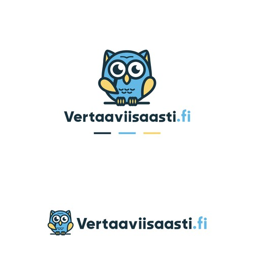 Owl with magnifying glasses logo