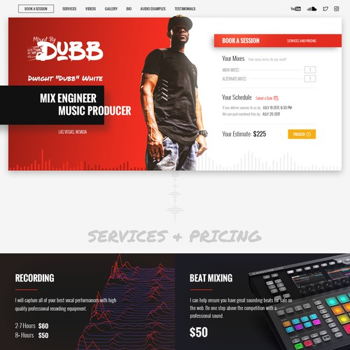 Single page website for recording producer