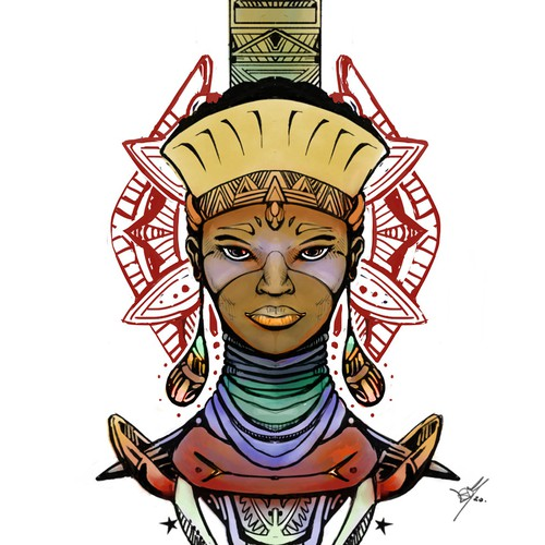 Tattoo design for Afro Warrior Godess