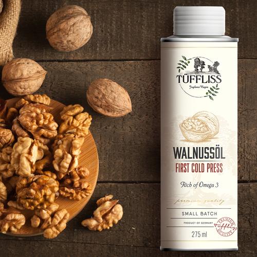 Walnut oil brand and label design