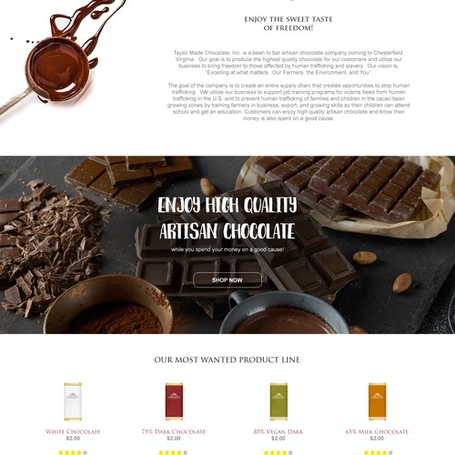 Homepage design for bean to bar chocolate factory