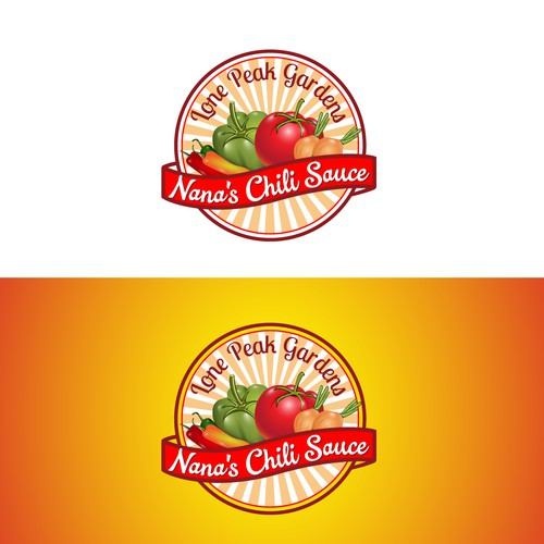 Create a classic logo for Lone Peak Gardens, LLC Nana's Chili Sauce