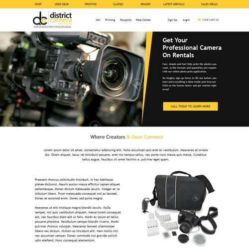 Landing Page Design for Camera Rentals