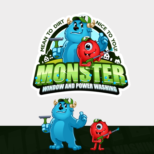 Monster Logo/Mascots for a window and power cleaning business that can be scary but nice