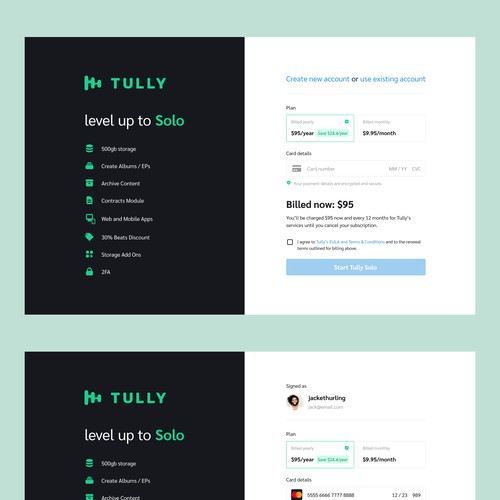 Checkout page for Tully website