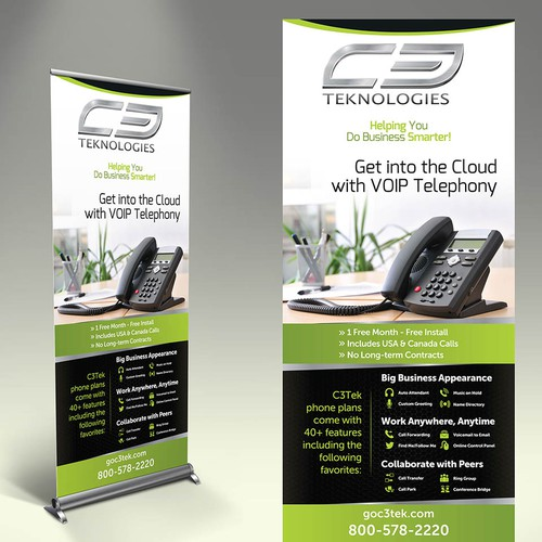 Create a trade show banner for VOIP business phone service