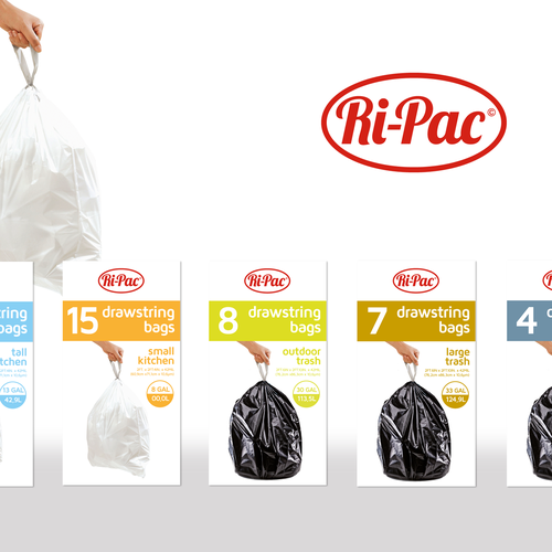 Packaging design for drawstring trash bags