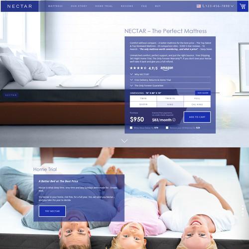 Nectar Mattress homepage design