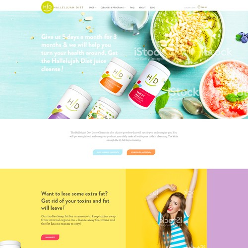 Homepage design for Juice Cleanse program