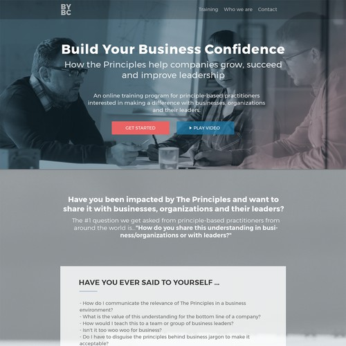 Training course landing page