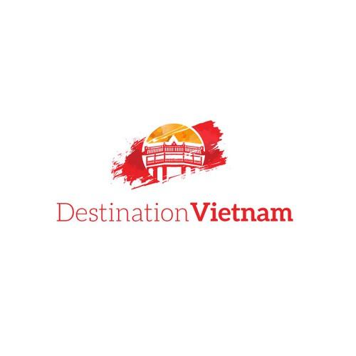 Modern logo for Destination Vietnam a travel agency