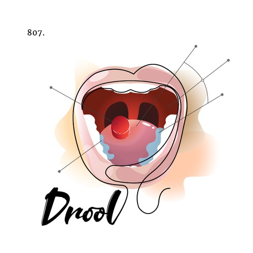 "Temporary relief from dry mouth logo for an herbal lozenge named ""drool"""
