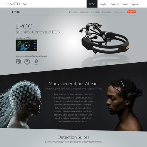 Emotiv Brainwear Website Concept
