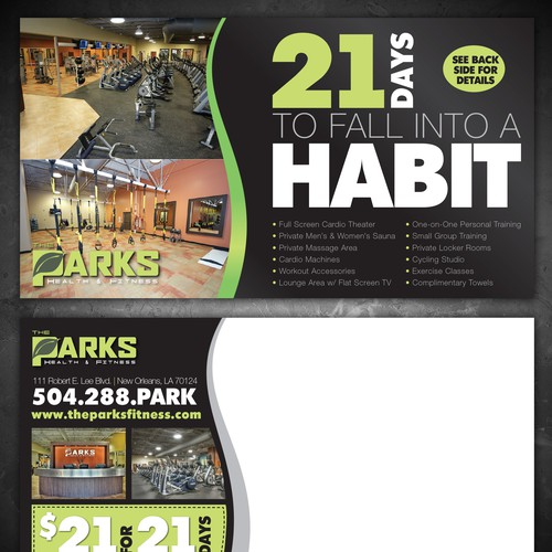 Direct mail postcard design for a fitness center
