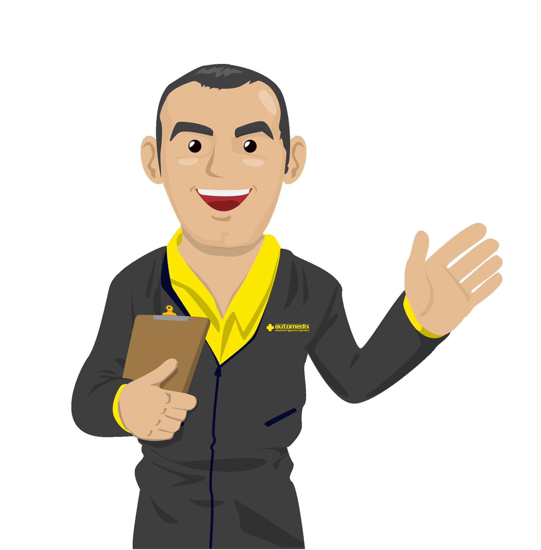 Modify brochure and create character cartoon