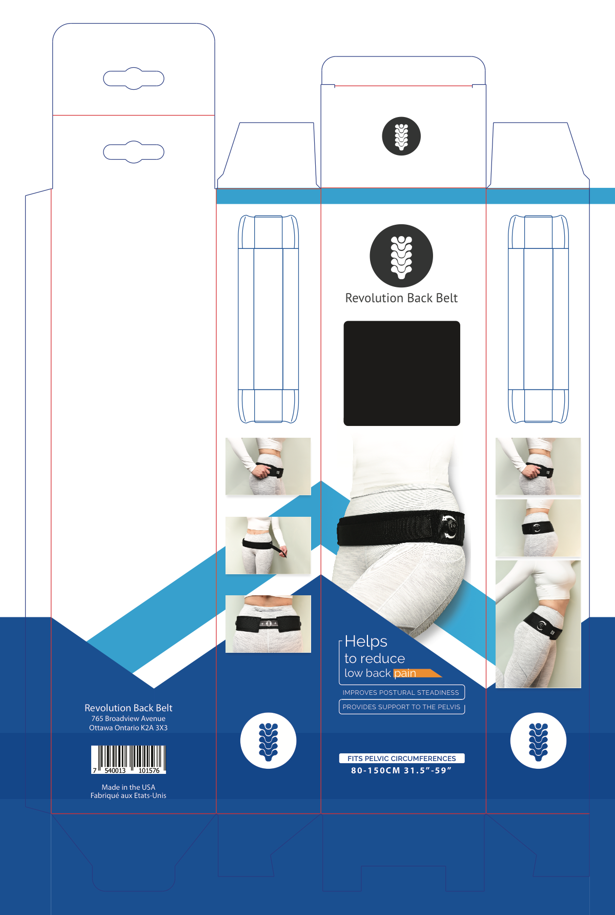 Packaging for a new design in low back support belt