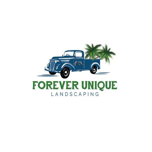 Vintage truck logo for landscaping
