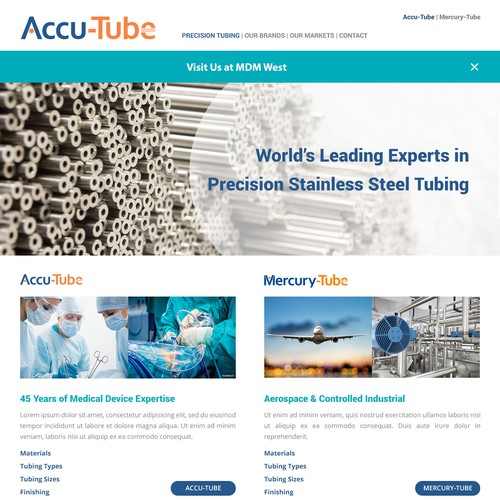 High Tech Website for Medical Device and Industrial Company