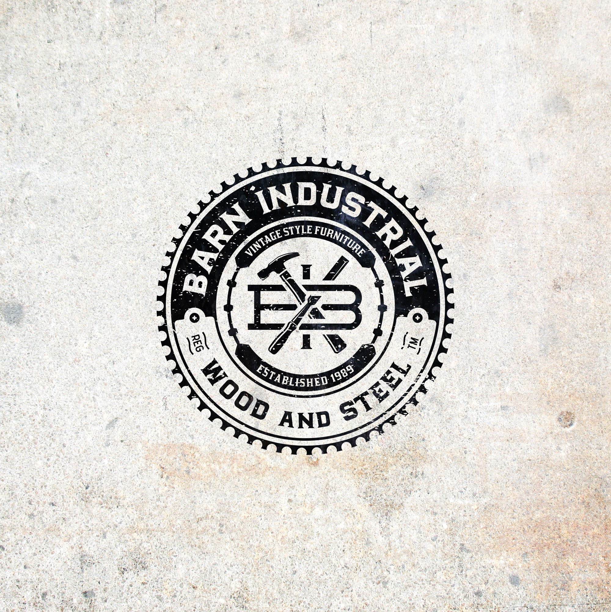 create a simple but effective logo that illustrates industrial wood and steel items we build