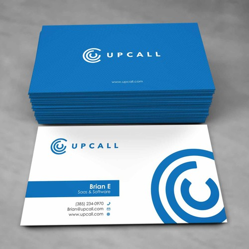 Upcall.com needs slick and modern business cards for conference/meetings