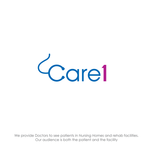 Design logo Care1, Doctors to see patients in nursing homes and rehab facilities.