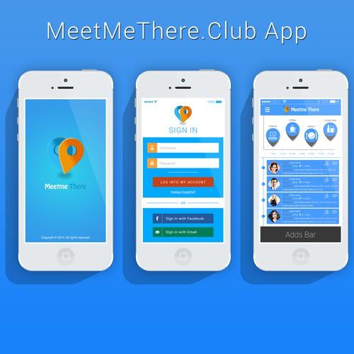 MeetMeThere.Club iOS/Android App Graphic Design
