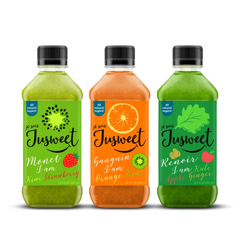 Design the label and logo for Jusweet, an exhilarating low sugar fruit-vegetable blend