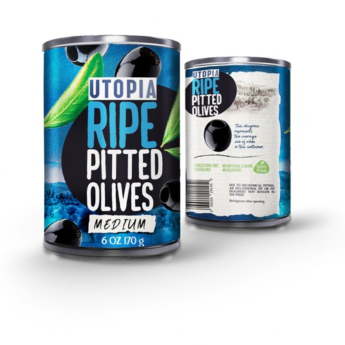 Utopia black pitted olives packaging