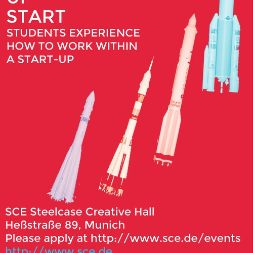 """Create a Poster/Flyer for an event with startups/students: """"Weekend Up Start"""""""